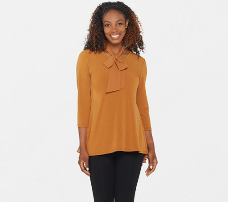 Susan Graver Liquid Knit Peplum Back Top with Chiffon Overlay