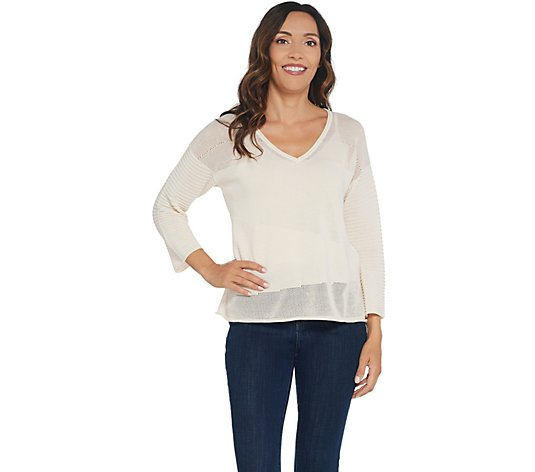 Laurie Felt 3/4-Sleeve V-Neck Sweater with Camisole