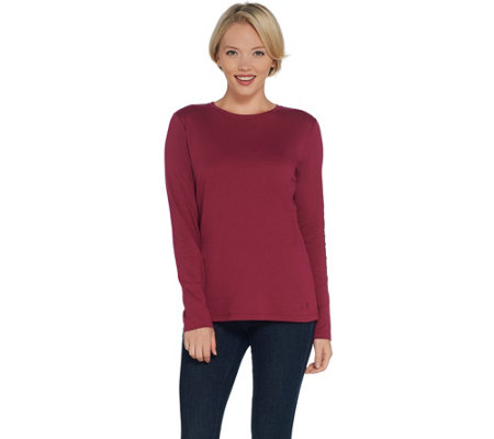 Isaac Mizrahi Live! Essentials Pima Cotton Crew Neck Knit Top