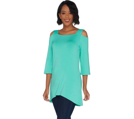 """As Is"" Belle by Kim Gravel Open Shoulder Tunic with Shoulder Straps"