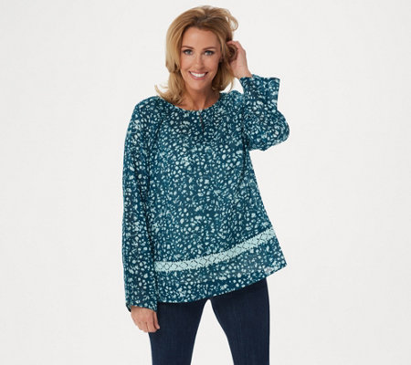Logo By Lori Goldstein Printed Gauze Top With Crochet Lace