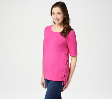Belle by Kim Gravel TripleLuxe Knit Side Lace-Up Top