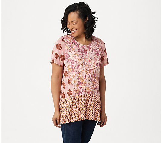 LOGO by Lori Goldstein Mixed Print Knit Top with Seam Details