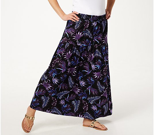 Denim & Co. Palm Printed Maxi Skirt with Smocked Waistband