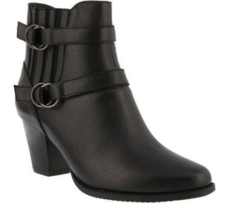 Spring Step Leather Double Strap Booties - Perilla