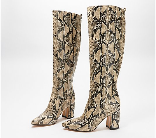 Sam Edelman Snake-Print Tall-Shaft Boots - Hai