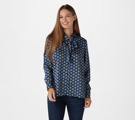 Laurie Felt Printed Woven Blouse with Tie