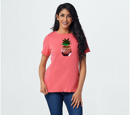 Quacker Factory Reversible Sequin Lettuce Trim T-Shirt