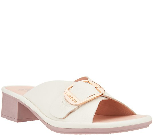 """As Is"" FLY London Leather Mules with Buckle Detail - Elax"