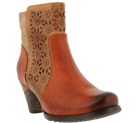 L Artiste By Spring Step Leather Textile Booties Belle