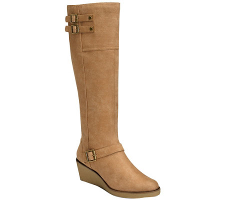 A2 Knee High Wedge Boots - Robbins Egg