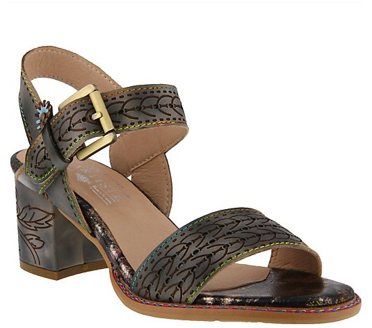 L`Artiste by Spring Step Leather Ankle Strap Sandals - Avonor