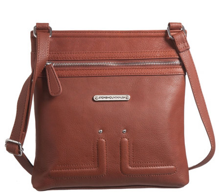 Stone Mountain Usa Er Leather North South Crossbody Bag Qvc