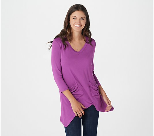 LOGO by Lori Goldstein V-neck Tee with 3/4 Sleeves and Pocket Detail