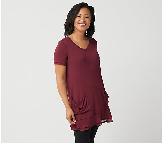 LOGO by Lori Goldstein Chiffon Trim Tee with Front Pockets