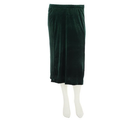 Bob Mackie's Stretch Velvet Fully Lined Mid Length Pull-On Skirt