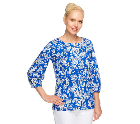 Linea by Louis Dell'Olio Paisley Print 3/4 Sleeve Blouse