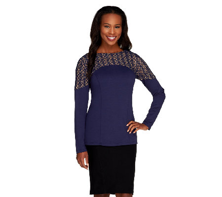 Mark of Style by Mark Zunino Long Sleeve Ponte Top with Lace Detail