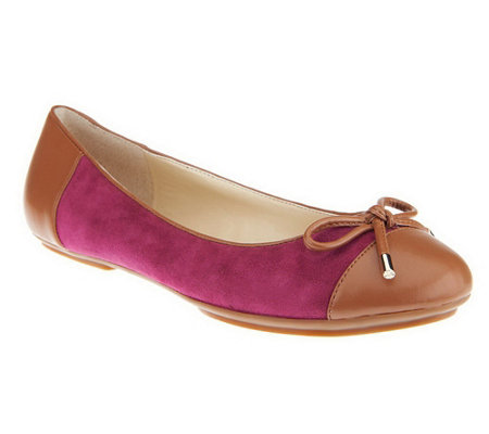 """As Is"" Isaac Mizrahi Live! Suede Ballet Flats with Bow"