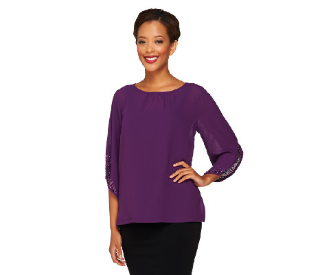 Bob Mackie's Embellished Sleeve Top with Side Slits