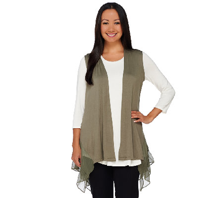 LOGO by Lori Goldstein Knit Vest with Pleated Chiffon Hem