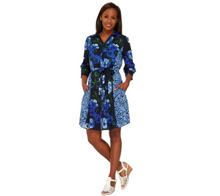 Isaac Mizrahi Live! Engineered Floral Shirt Dress