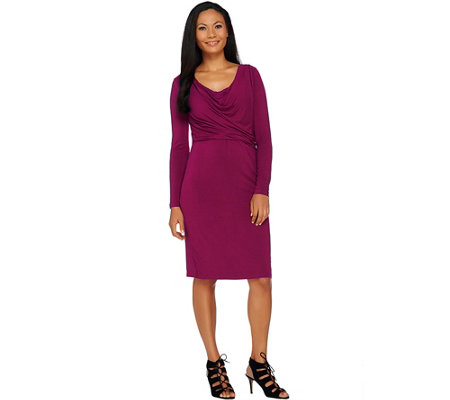 H by Halston Solid Cowl Neck Long Sleeve Dress