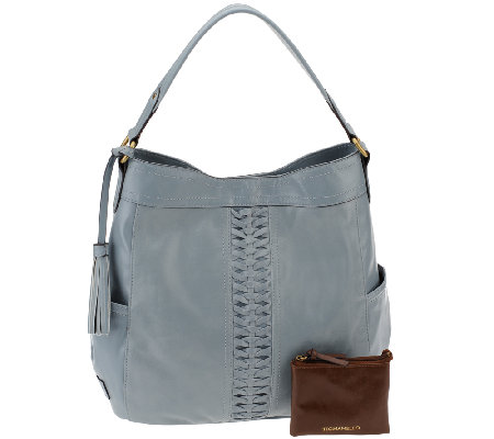As Is Tignanello Distressed Leather Braided Hobo Handbag