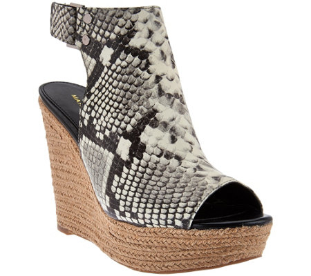 Marc Fisher Leather Peep-toe Espadrille Wedges - Hybrid
