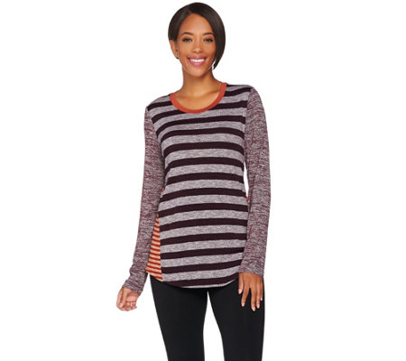 LOGO by Lori Goldstein Mixed Stripe Sweater Knit Top