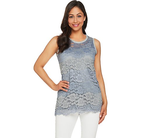 LOGO by Lori Goldstein Lace Tank and Solid Tank Twin Set