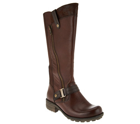 """As Is"" Earth Origins Leather Wide Calf Tall Boots - Portia"
