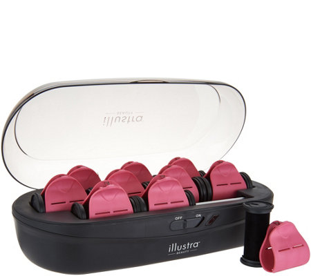 Illustra Beauty Set of 10 Ultra-Fast Heating Hot Rollers w/Clips