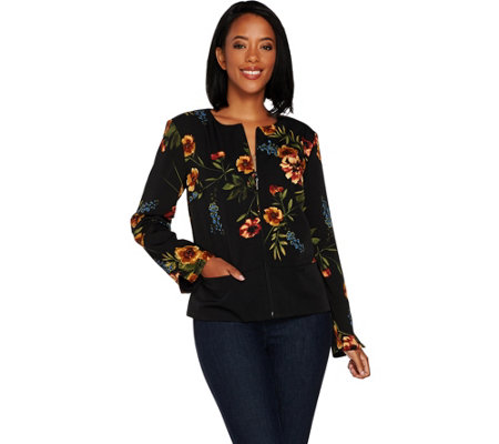 GRAVER Susan Graver Printed Stretch Woven Cropped Jacket