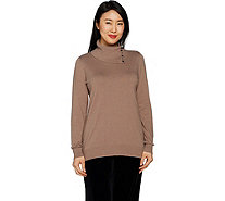 Dennis Basso Split Collar Sweater with Jewel Buttons - A298259