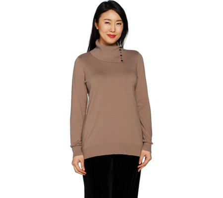 Dennis Basso Split Collar Sweater with Jewel Buttons