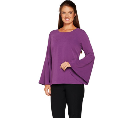 Linea by Louis Dell'Olio Crepe Top with Flounce Sleeves