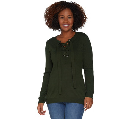 Attitudes by Renee Pullover Lace-Up Sweater