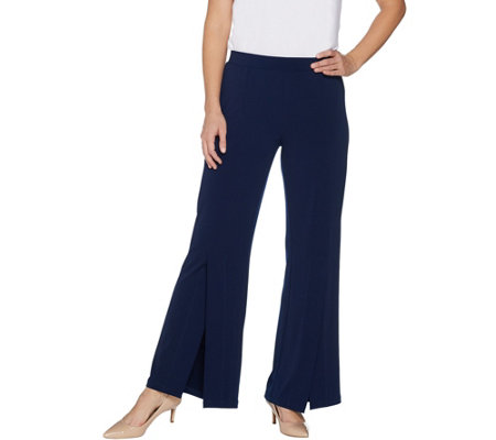 Susan Graver Liquid Knit Split Leg Pants - Petite
