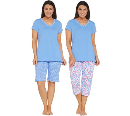 Carole Hochman Floral Blossoms Cotton Jersey 3-Piece Pajama Set