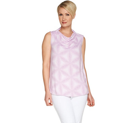 Lisa Rinna Collection Printed Collared Cowl Neck Top