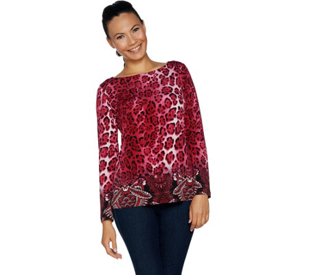 """As Is"" Susan Graver Printed Liquid Knit Long Sleeve Top"