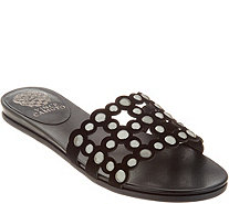 Vince Camuto Leather Studded Slide Sandals - Ellanna - A306359