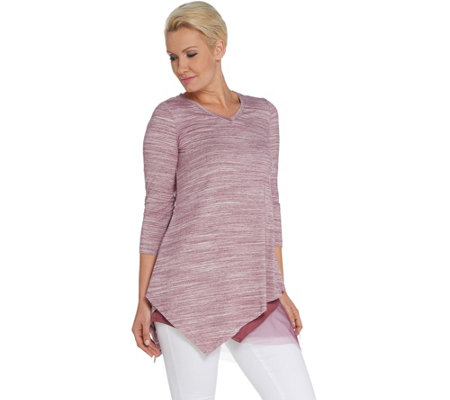 LOGO by Lori Goldstein Striated Knit Top & Tank w/ Mesh Twin Set