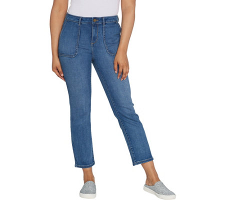 LOGO by Lori Goldstein Crosshatch Straight Ankle Jeans w/Pockets