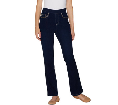 """As Is"" Belle by Kim Gravel Flexibelle Reg Stitched 5-Pkt Boot-Cut Jeans"