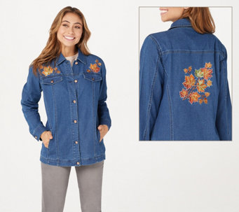 Quacker Factory Embroidered Button Front Denim Jacket with Pockets - A341759