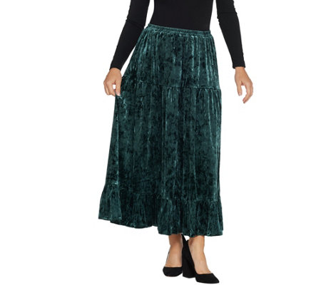 Linea by Louis Dell'Olio Crushed Velvet Pull-On Tier Skirt
