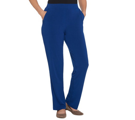 Quacker Factory Pull-On Straight Leg Knit Pants with Pockets