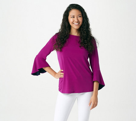 """As Is"" Susan Graver Liquid Knit Bell Sleeve Top with Pop Lining"